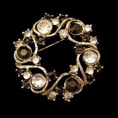 New in the #MyClassicJewelry @Etsy Shop! http://ift.tt/1rEdsaZ Vintage Circle Brooch Pin Mid Century Black Clear Rhinestones Wreath Very Pretty by MyClassicJewelry #GotVintage
