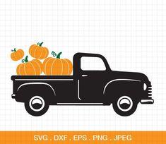 Pumpkin Truck svg, Old Truck Pumpkin svg, Pumpkin Cut File, Silhouette Cut File, pumpking Cricut Fil - trucksandsupercars Stencils, Silhouette Design, Silhouette Cameo, Silhouette Studio, Cricut Tutorials, Cricut Vinyl, Vinyl Art, Cricut Creations, Vinyl Crafts