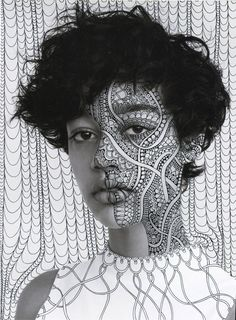 Portraits with Black Psychedelic Patterns by Alana Dee Haynes – Fubiz Media Photo Portrait, Portrait Art, Photo Art, Portrait Photography, Psychedelic Pattern, Psychedelic Art, Foto Face, Doodle On Photo, Art Visage