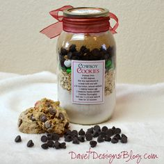 Craft ideas and more from Davet Designs: 8th Day of Christmas in a Jar - Cowboy Cookie Mix in a Jar