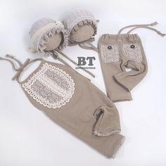 TWIN SET  Vintage Lace Romper Pant Bonnet by BeeTeeBoutique