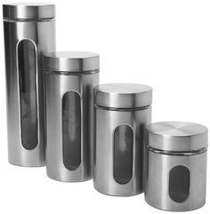 Palladian Cylinder Stainless Steel Canister Set with Windows for easy viewing. Set includes 4 canisters: and Canisters. Glass jars with bold metal sleeves and screw-top lids Set of 4 canisters. The jar opening is slanted so it is easy access to select Food Canisters, Kitchen Canister Sets, Storage Canisters, Glass Canisters, Glass Jars, Kitchen Storage, Kitchenware, Kitchen Organization, Tea Storage
