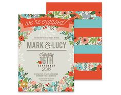 Floral Engagement Invitation  Summer Foliage  by TheFabledPapery