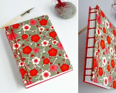 """Thanks for the kind words! ★★★★★ """"Love this journal came wrapped in pink paper and so pretty,perfection,feels nice in my hands and takes ink well, you can't go wrong with Huggabindery."""" Kasmira B. https://etsy.me/2SwcCiZ #etsy #booksandzines #journal #red #birthday # Japanese Binding, Japanese Paper, Blank Journal, Pink Paper, Handmade Journals, Writing Paper, Paper Decorations, Drawing Sketches, Washi"""