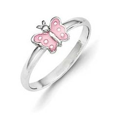 Kid's Jewelry - Children's Sterling Silver Pink Butterfly Ring Available Exclusively at Gemologica.com