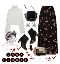 """In Bloom: Dark Florals"" by aleksandra985 ❤ liked on Polyvore featuring RED Valentino, Bee Goddess, Jaeger and darkflorals"