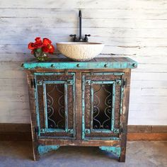 Distressed wood, tooled leather & decorative nail heads add a textured feel to our elegant Cortez Bathroom Vanity! Approx Dimensions: x x Deep Shabby Chic Kitchen, Shabby Chic Homes, Shabby Chic Decor, Rustic Decor, Tuscan Decor, Country Decor, Distressed Furniture, Shabby Chic Furniture, Rustic Furniture