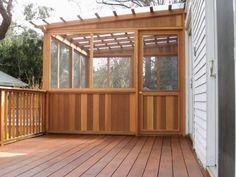 Product & Tools:Fiberglass Roof Panels Wood Deck Design How to Install Fiberglass Roof Panels Screened Porch Designs, Screened In Patio, Deck With Pergola, Backyard Patio, Pergola Kits, Pergola Ideas, Fiberglass Roof Panels, Fibreglass Roof, Enclosed Decks