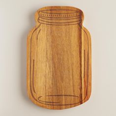 Wood Mason Jar Cutting Board SKU# 504166 3 / 5 3 / 5 Open Ratings Snapshot Read 1 review Write a review $9.99 QTY Get Price Alerts DELIVERY In stock and ready to ship Not available at Queen Creek Why We Love It Our mason jar-shaped cutting board features a laser-etched design that brings its vintage canning jar details into sharp relief, making it perfect for serving cheese and charcuterie. >> #WorldMarket Mother's Day