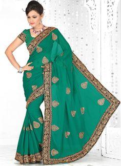 Spectacular #Green #Chiffon #Saree
