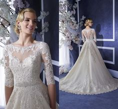 Dresses Wedding 2016 New Princess Wedding Dresses With Half Sleeves Ronald Joyce Jewel Neck Appliqued Crystals Tulle Ball Gown Bridal Gowns With Sheer Back Bridal Wear From Nicedressonline, $226.97| Dhgate.Com