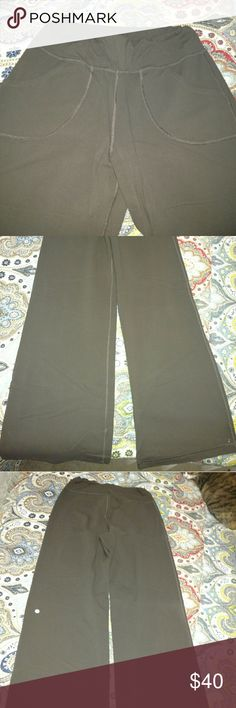 Lululemon wide leg lounge pants, brown Lululemon wide leg lounge pants with drawstring waist and pockets lululemon athletica Pants Wide Leg