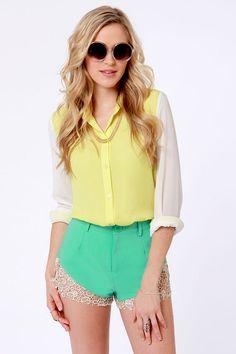 Cute Mint Green Shorts - Lace Shorts - High-Waisted Shorts - $40.00