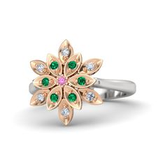 Round Pink Sapphire Sterling Silver Ring with Diamond & Emerald - Dahlia Ring | Gemvara