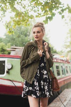 Flowy dress and bomber jacket