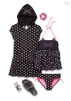 Cute kitties have a lot of heart. Dive into this tankini & coverup in purrfect print. Preteen Girls Fashion, Kids Outfits Girls, Kids Fashion, Girl Outfits, Cute Outfits, Fashion Outfits, Kids Bathing Suits, Cute Pjs, Justice Clothing