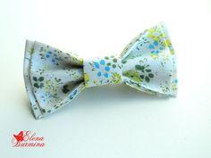 Купить Бабочка галстук белая в зеленый цветочек - белый, цветочный, зеленый, голубой, желтый