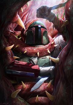 I love that no one subscribes to the fact that Boba Fett was eaten by the Sarlacc in Return of The Jedi. Of course in the EU we know he escapes, but seeing as that hasn't yet officially been revealed in the films, it's no longer considered canon. That said, I really appreciate this artwork by DanLuVisi. Whether he escaped or not, we can all agree that Fett wasn't about to go down without a fight!