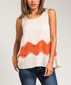 Love this Beige Lace-Chevron Sleeveless Top on #zulily