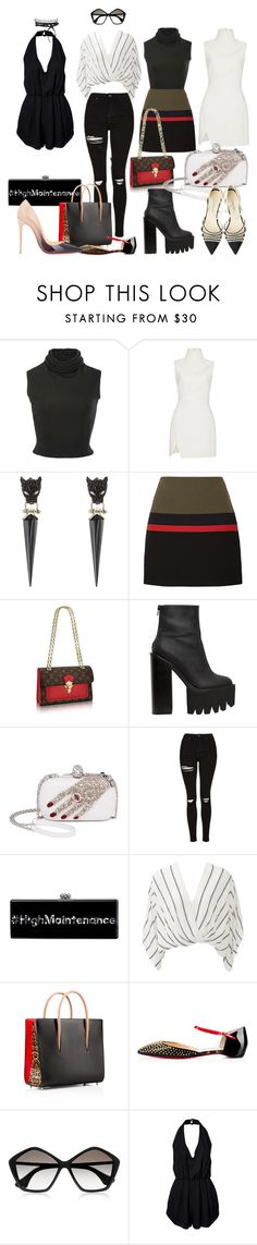 """""""Looks"""" by nina-deluxe ❤ liked on Polyvore featuring Brandon Maxwell, Thierry Mugler, Alexis Bittar, Sonia Rykiel, Jeffrey Campbell, Alexander McQueen, Topshop, Edie Parker, Free People and Christian Louboutin"""