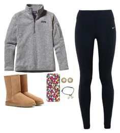 """""""It's been a week since I last went to school!"""" by lillynelsonn ❤ liked on Polyvore featuring Patagonia, NIKE, UGG Australia, Casetify, Kendra Scott, women's clothing, women, female, woman and misses"""