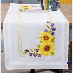 Sunflowers - camino de mesa - kit para punto de cruz imprimido - Vervaco