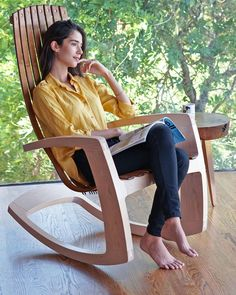 Rusten Studio-crafted Sculptural Modern Rocking Chair in Maple and Walnut