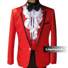 Best Man 5 Piece Red Slim Fit Fashion Wedding Prom Tuxedos Dress Suits SKU-123180