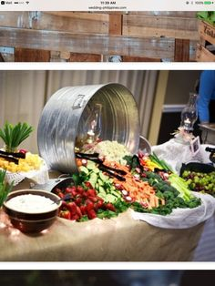 This would work very well at a country wedding.Zion Photography - Campbell Wedding - Reception food table by maggie Wedding Reception Food, Wedding Desserts, Wedding Ideas, Wedding Catering, Wedding Receptions, Wedding Foods, Wedding Planning, Veggie Bars, Fingers Food