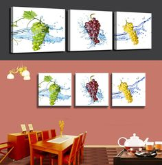 Paintings Fallout 3 Panels Three-color Grape Painting Canvas Wall Art Picture Home Decoration Living Room Print Modern Unframed $57