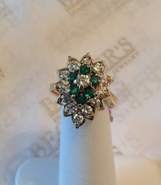 Gorgeous vintage 14k yellow gold Emerald And by BeckersJewelersCT