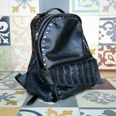 Black stylish alligator crocodile exclusive design limited edition backpack
