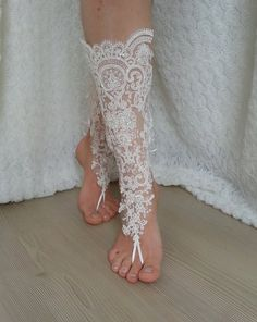 ivory Barefoot french lace sandals wedding by BarefootShop