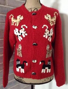 Bellepointe Red Cat Cardigan Sweater Small Long Sleeve Wool Blend Cat Buttons | eBay