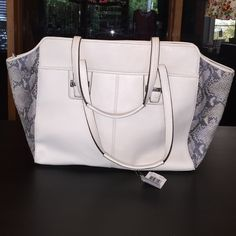 Coach  CLASSY New lower price Cream pebble leather and python leather. Outside pockets. One zippered pocket inside, plus divided open pocket. Grey lining, silver hardware. Coach Bags Totes