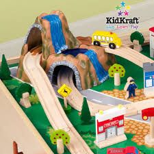 KidKraft Waterfall Mountain Train Set and Table 120 durable pieces. view larger Learning is fun with the KidKraft waterfall Train Set Table, Wooden Train, Brio, Love Is Free, Storage Bins, Gift Store, Cool Toys, Kids Playing, Wooden Toys