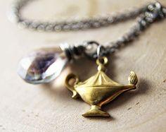 Genie+Lamp+Necklace+Silver+Quartz+Pendant+by+PoleStar+on+Etsy,+$48.00