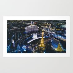 Las Vegas Strip at night from a high perspective Art Print
