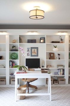 Office Makeover Reveal | IKEA Hack Built-in Billy Bookcases - Southern Revivals