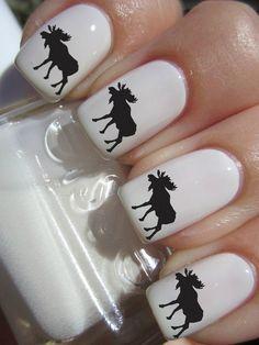 Black Moose nail decals tattoos nail art by CrazyFunNailArt Shellac Nails, Nail Manicure, Toe Nails, Crazy Nail Art, New Nail Art, Silhouette Nails, Moose Silhouette, Gorgeous Nails, Pretty Nails