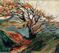 Group of Seven artist Emily Carr Tree in Autumn Tom Thomson, Canadian Painters, Canadian Artists, Landscape Art, Landscape Paintings, Landscape Posters, Group Of Seven, Impressionist Paintings, Stretched Canvas Prints