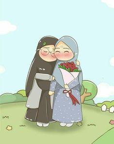 Doodle Cartoon, Cartoon Kunst, Girl Cartoon, Cartoon Art, Cartoon Ideas, Hijab Drawing, Wallpaper Hp, Islamic Cartoon, Anime Muslim