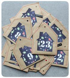 calendrier de l'avent avec des nichoirs en kraft et de jolies etiquettes nombre à imprimer.