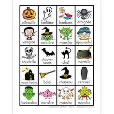 Fichier PDF téléchargeable Versions en couleurs et en noir et blanc 1 page Voici une page de mots illustrés sur le thème de l'Halloween que vous pouvez utiliser comme jeu de mémoire en imprimant le document 2 fois. Je vous conseille alors de plastifier le document.