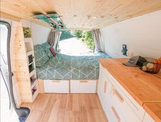 Vanlife Inspiration on Simple, yet beautiful Ford tiny home. Ford E250, Van Living, Tiny House Living, Tiny House Movement, Life Hacks, Life Tips, Rv Hacks, Kombi Motorhome, Converted Vans