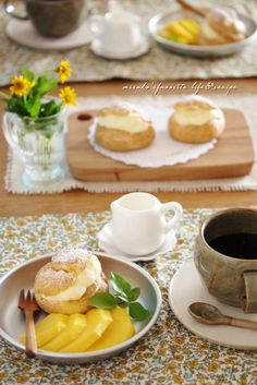 Afternoon tea with choux pastry