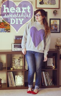 Heart Sweatshirt DIY  plain sweatshirts at walmart and some fleece.  I would buy mine extra big and cut off the collar and the waste band for a comfy look with leggings
