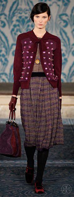 Look 28, Ava: Cabochon-embellished knit & chiffon cardigan, Pleated plaid knit dress