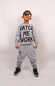 """Kids """"Watch Me Work"""" Gray Sweatsuit"""
