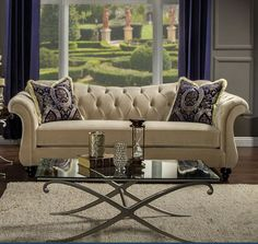 Antoinette Sofa SM2223-SF Leave a lasting impression to visitors of your home with this timeless re imagining of the chesterfield sofa. Cues from the classic design are kept with essential changes to bring it to the modern day. The reverse camelback seat and arms are deeply tufted with acrylic buttons, and velvet fabric is used for maximum comfort. Matching pillows with intricate pattern are included, for an even more upscale look that will sure impress guests and keep them talking…